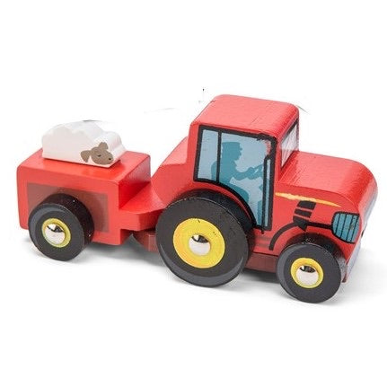 red mini wooden tractor - le toy van