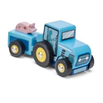 blue mini wooden tractor - le toy van