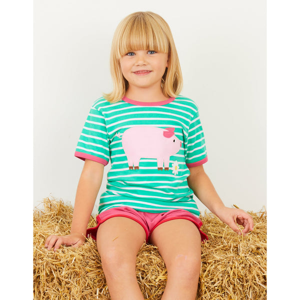 Little Girl wearing Pig Applique T-shirt by Toby Tiger | Cotswold Baby Co