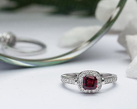 Aurora 14Karat White Gold with Garnet Gemstone Diamond Engagement Ring