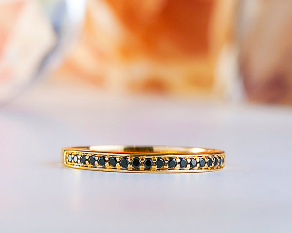 Cheryl 18Karat Yellow Gold with Black CZ Wedding Band