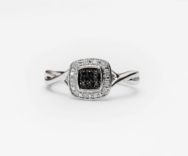Hella Black Sterling Silver Diamond Engagement Ring