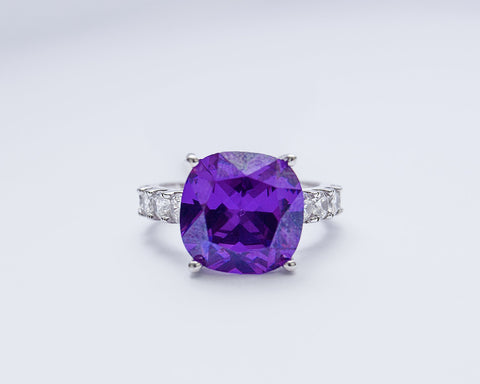 Bukola 18Karat White Gold with Amethyst Gemstone Engagement Ring