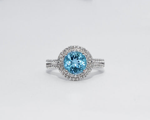 Keturah 18Karat White Gold with Topaz Gemstone Engagement Ring