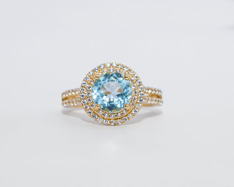 KETURAH 18 KARAT YELLOW GOLD ENGAGEMENT WITH TOPAZ GEMSTONE