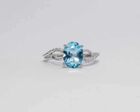 JULIA 18 KARAT WHITE GOLD ENGAGEMENT WITH TOPAZ GEMSTONE