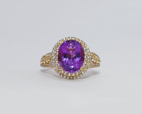 HEPZIBAH 18KARAT YELLOW GOLD WITH AMETHYST GEMSTONE