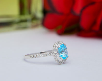 Khloe 18Karat White Gold with Aquamarine Gemstone Engagement Ring
