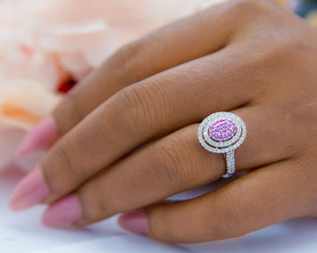 Minty 18Karat White Gold with Pink CZ Diamond Engagement Ring