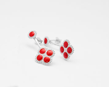 Molly Sterling Silver with Red Enamel Earring