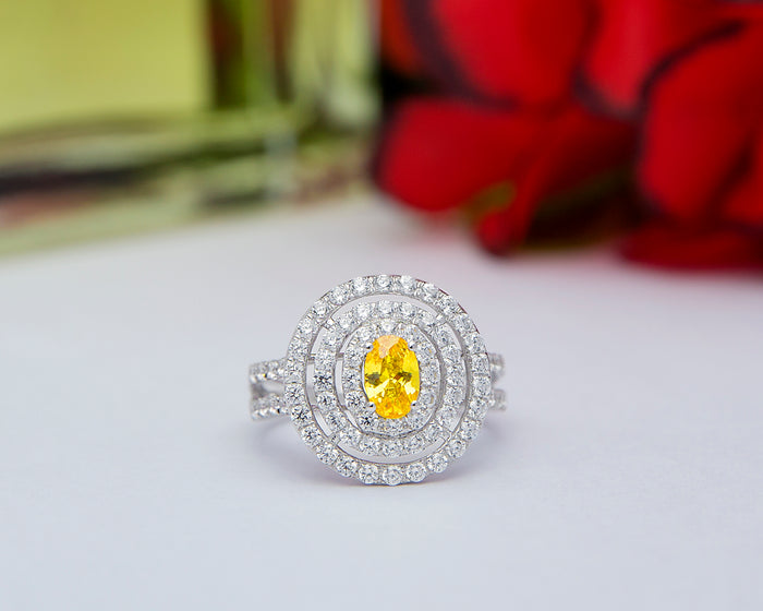 Nwanneka 18Karat White Gold with Yellow CZ Engagement Ring
