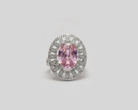Ruby Sterling Silver with Pink Center Stone Engagement Ring
