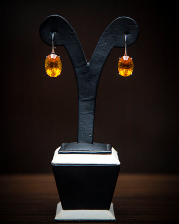 Zemira 18Karat White Gold with Amber Gemstone Earring