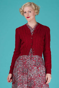 Emmy Ice Skater Cardigan in Burgundy Red