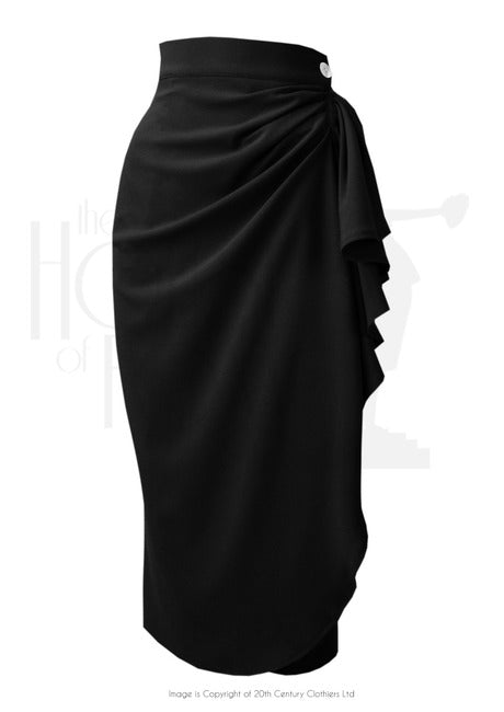 The House of Foxy 40s Waterfall Skirt in Black