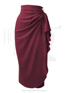 The House of Foxy 40s Waterfall Skirt in Berry