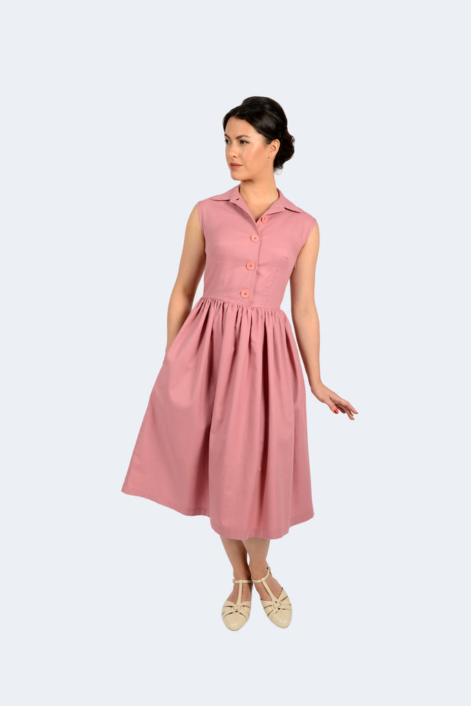 Revival Retro Blackpool Dress in Mesa Rose Organic Cotton