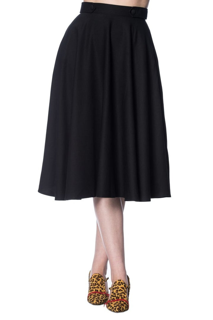 Banned Retro Di Di Swing Skirt in Black