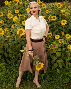 The House of Foxy 40s Whirlaway Skirt in Warm Taupe