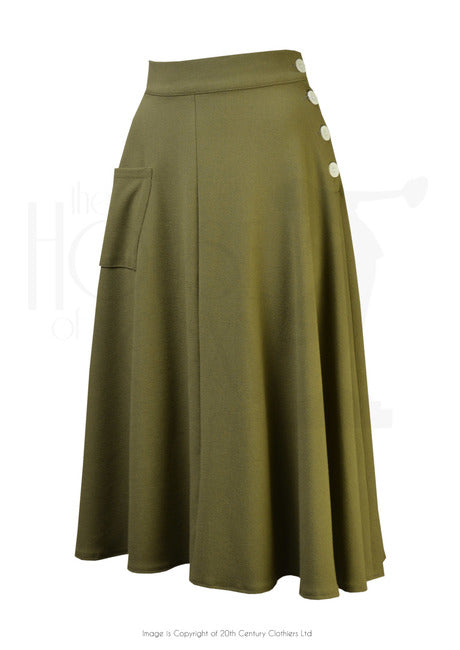 The House of Foxy 40s Whirlaway Skirt in Khaki