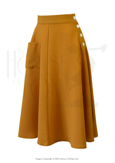 The House of Foxy 40s Whirlaway Skirt in Mustard