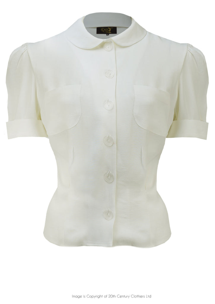 The House of Foxy 30s Wallis Blouse in Ivory