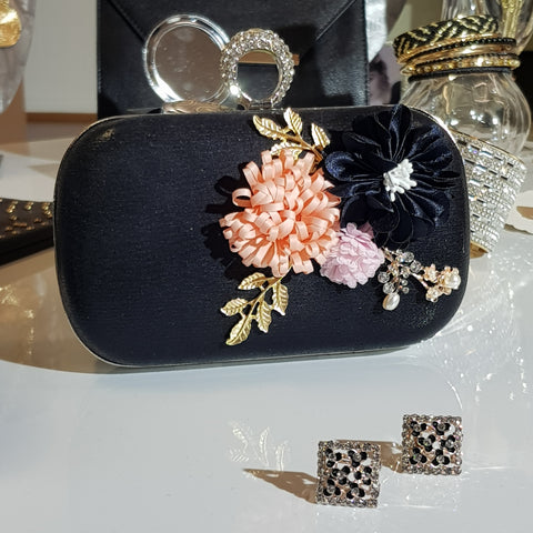 Bella Black Floral Cluster Clutch