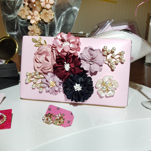 Diana Pink Floral Cluster Clutch
