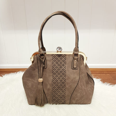 Wanita Large Boho Handbag - Brown