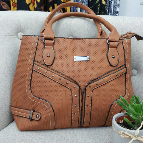 Whisper Detailed Tan Handbag