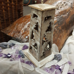 Incense Cone Burner Tower - White Wash - JBD