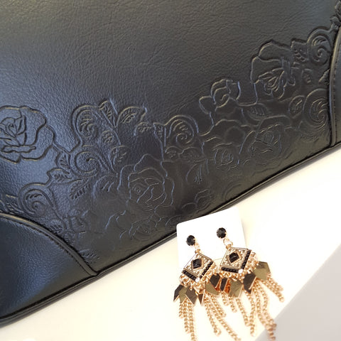Bribie Black Detailed Handbag