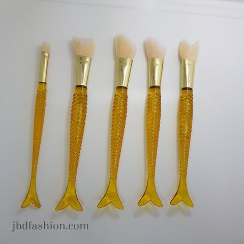 Yellow Mermaid Tail Brush Set