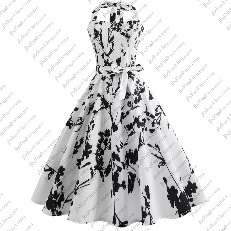 CLEARANCE - Rockabilly Floral Black & White Dress
