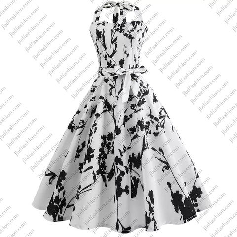 CLEARANCE - Rockabilly Floral Black & White Dress - JBD