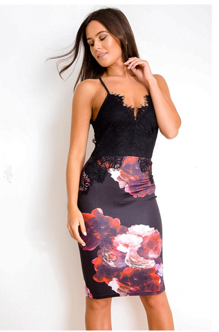 34d291bfd9e1 Floral Lace Midi Dress Black/Red ...