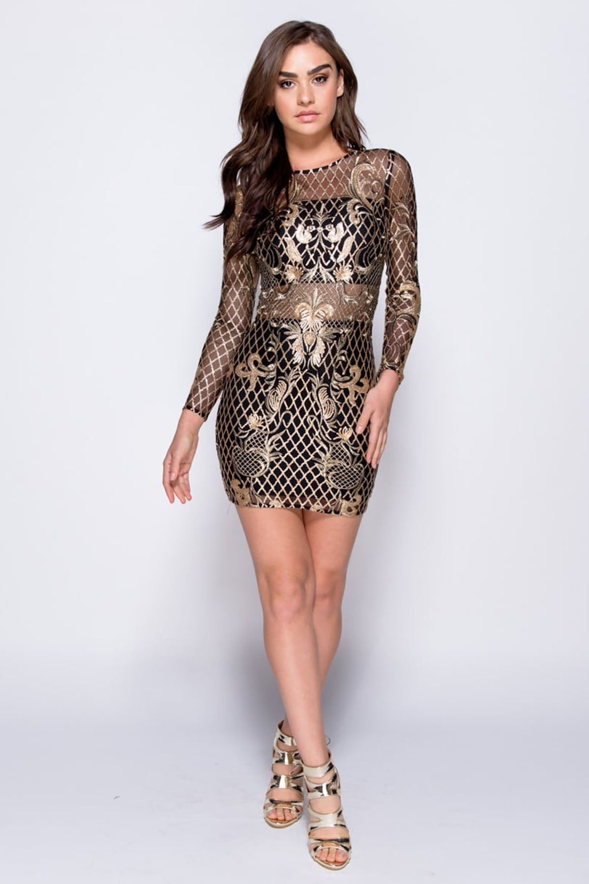 4012ade69562 Gold Sequin Full Sleeve Bodycon Dress – Pink Ivy Boutique