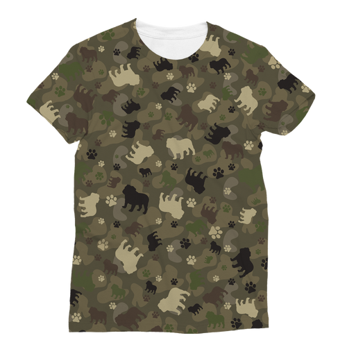 Bulldog Camo All Over Print Women's T-Shirt