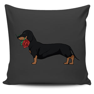 Dachshund Rose Pillow Cover