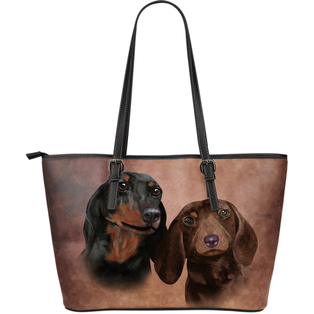 Dachshund Breed Large Leather Tote Bag