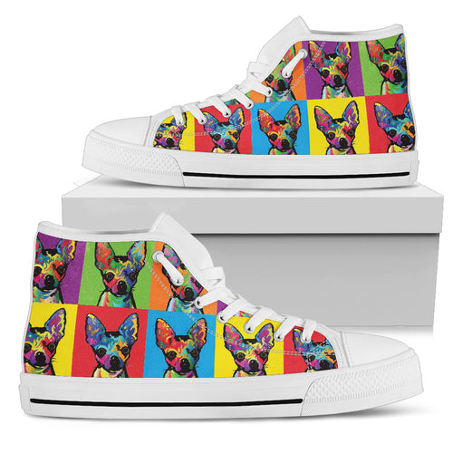 Chihuahua Pop Art Women's High Top Sneakers