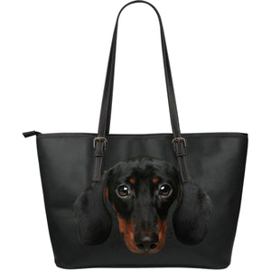 Dachshund Face Large Leather Tote Bag