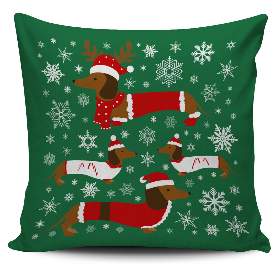 Dachshund Xmas Pillow Cover