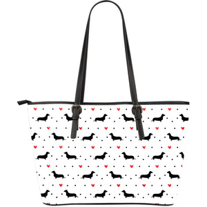 Dachshund Love Large Leather Tote Bag