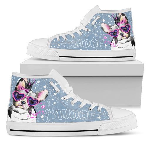 Frenchie Woof Women's High Top Sneakers