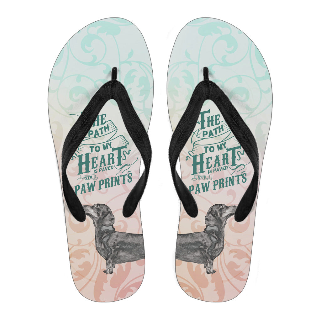 Path to My Heart (Dachshund) Women's Flip Flops