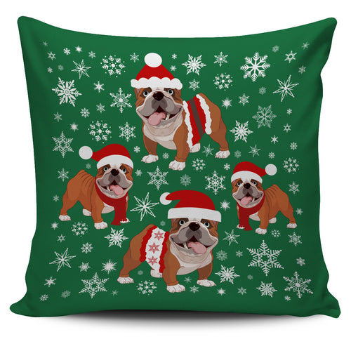 Bulldog Xmas Pillow Cover