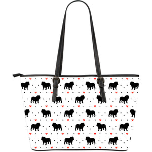 Bulldog Love Large Leather Tote