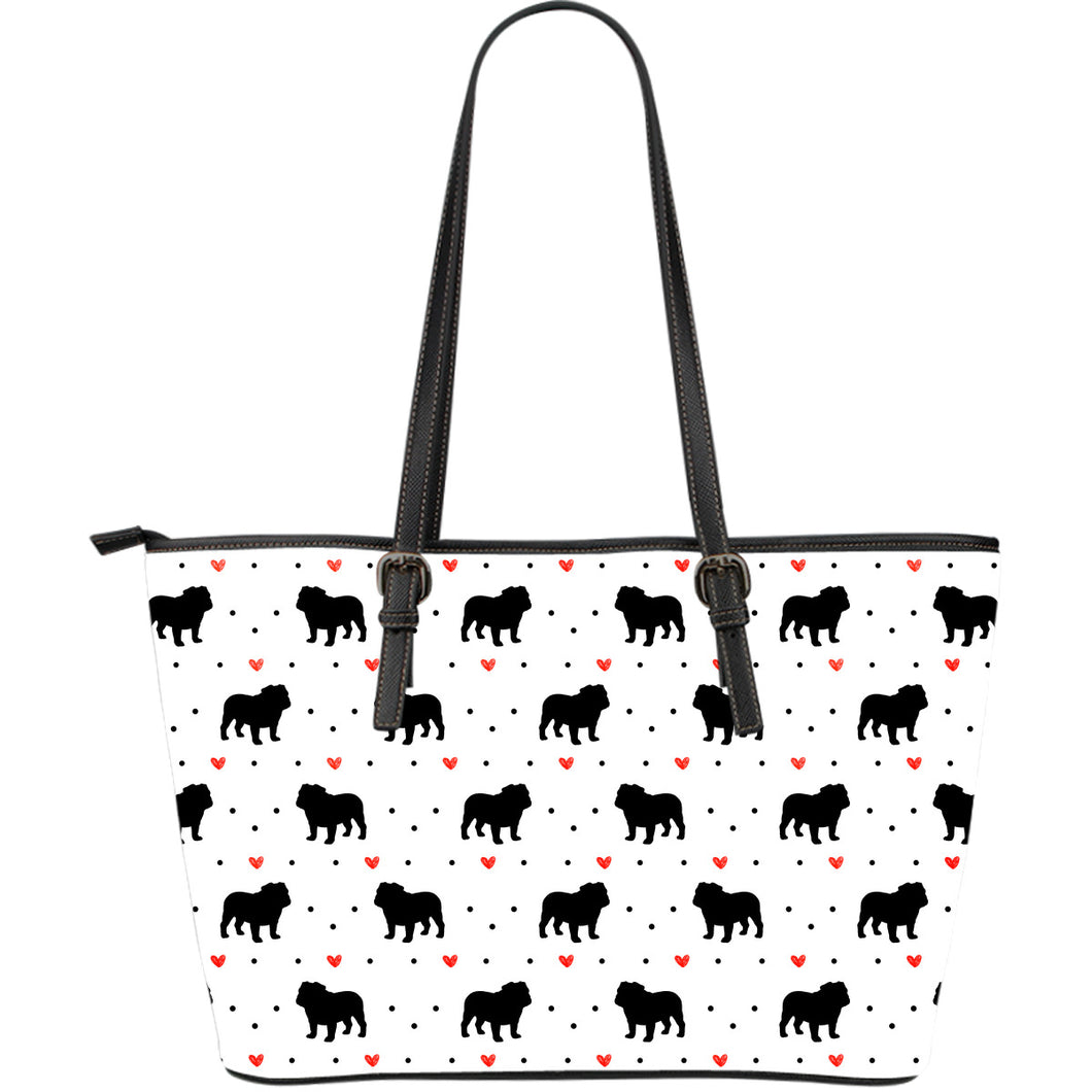 Bulldog Love Large Leather Tote Bag