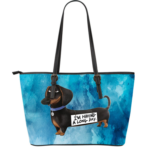 Dachshund Long Day Leather Tote Bag